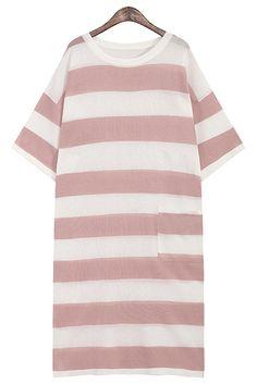 muted pink shirt dress| free shipping!  kawaii cult party kei pastel hipster ulzzang fachin dress striped top free shipping zaful