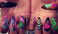 Pink white black green purple stiletto nails