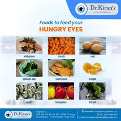 Foods To Feed Your Hungry Eyes. Improve your eyesight and enhance vision with some healthy foods.  #foodforeyes #eyecaretips #healthyeyes #DrKiransEyeHospitals #KPHB #Hyderabad
