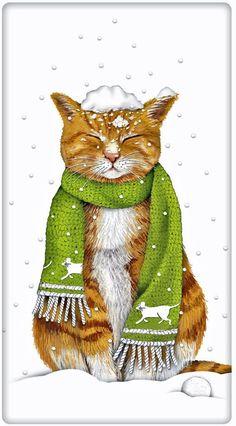 Snowy Winter Orange Tabby Cat 100% Cotton Flour Sack Dish Towel Tea Towel