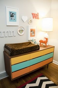 tri colored dresser. Would be cute in ombré style
