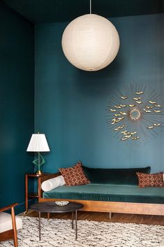 a very zen blue and turquoise parlor