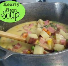Hearty Ham Soup- the addition of extra sharp cheddar cheese MAKES this soup!