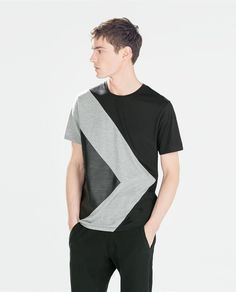 T-SHIRT WITH FAUX LEATHER TRIANGLE DETAIL-Pattern-T-shirts-MAN   ZARA United States