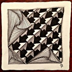 Adele Bruno's It's a String Thing #Zentangle Challenge 73,  tangle created by Lucy Banta using tangles Schway and Rick's Paradox.
