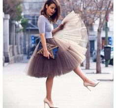 Grey tulle skirt  outfit