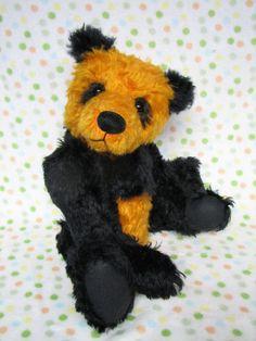 Mohair artist orange and black panda bear By Melanie by Melbears Canadian Artists, Black Felt, Hang Tags, Panda Bear, Adoption, Teddy Bear, Orange, Handmade Gifts, Panda