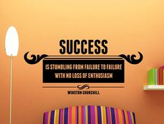 """Winston Churchill Quote Motivational Typography Wall Decal Office Home Décor """"Success Is Stumbling From Failure to Failure"""" 38x17 Inches"""