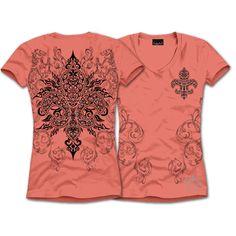 "CORAL ROCKS! S/S TRIBAL FLEUR DE LIS Shirt $28.00 + FREE shiping when you enter the coupon code ""PINTEREST"" during checkout online #fleurdelis #LSU #LA #madeinusa #fashion"