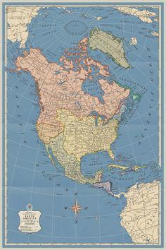 Vintage Wall Art, Vintage Walls, Fantasy Map Generator, Imaginary Maps, North America Map, Alternate History, Fictional World, Historical Maps, Still Image