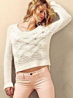 Boyfriend Sweater (in winter white) and VS Siren Ankle-zip Legging (in bisque) - Victorias Secret Fall Outfits, Cute Outfits, Work Outfits, Boyfriend Sweater, Cute Sweaters, Chunky Sweaters, Cable Sweater, Fall Sweaters, Cotton Sweater