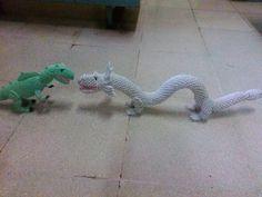 Origami 3D chinese dragon vs trex