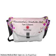 218ff1ea5c Diabetes Medical Alert type 1 or 2 floral Glitter Courier Bag