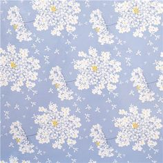 blue premium laminate fabric by Michael Miller white flowers 2