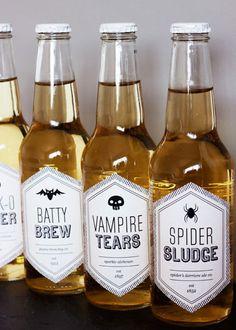 Printable Halloween Beverage Labels via Paper Crave