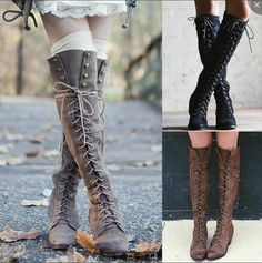 Female Over the Knee Lace Up Rivet Martin Boots Thigh High Combat Low Heel Shoes - Chunky Boots - Ideas of Chunky Boots - Female Over the Knee Lace Up Rivet Martin Boots Thigh High Combat Low Heel Shoes Price : Thigh High Boots, High Heel Boots, Heeled Boots, Shoe Boots, Women's Boots, Knee High Winter Boots, Dress Boots, Combat Boots, Ankle Boots