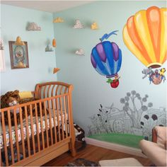 Our nursery, complete with handmade stuffed clouds!