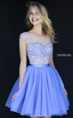 Periwinkle Scoop Neck U-back Embellished Floral Homecoming Dress