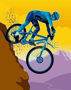 A man mountain biking downhill photo