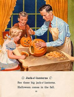 This illustration reminds me of my daddy. He was the one that craved pumpkins with us, dyed the Easter eggs, hid the eggs repetitively, and helped us decorate the Christmas tree. He also taught us to ride a bike, ice skate, swim, fish, and took us camping.    B.Stokes