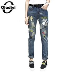 26.58$  Buy now - http://ali2e0.shopchina.info/go.php?t=32798771461 - Oladivi American Apparel Women Jeans Embroidery Straight Denim Pants Destroyed Hole Long Trousers 2017 Spring Summer Plus Size  #buyonline