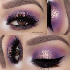 purple / gold soft halo @romyglambeauty | #spotlight eye makeup w/ black winged liner / eyeliner