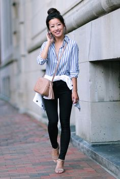 Extra Petite - Fashion, style tips, and outfit ideas Blue Striped Shirt Outfit, Outfits With Striped Shirts, Blue And White Striped Shirt, White Denim, Petite Outfits, Mode Outfits, Casual Outfits, Summer Outfits, Fashion Outfits