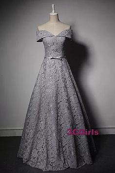 Elegant gray lace prom dress, evening gown, off the shoulder dress