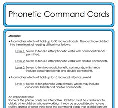 This set of command cards are very simple and fun for children to do. There are 4 levels of difficulty. The first file is a bit of instruc...