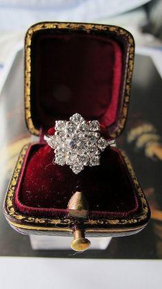 Diamond ring designed as a cluster, set in a 14 k white gold mount from Akaham on Ruby Lane. - FABULOUS!  www.kerlagons.com