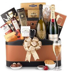 "Select either Dom Perignon or Moet & Chandon White Star champagne to be the focal point of your gift. ""[p]Featuring an impressive champagne selection and a delicious array of gourmet foods and sweets, this prestigious ensemble is ideal for celebrating Champagne Gift Baskets, Wine Gift Baskets, Gourmet Gift Baskets, Gourmet Gifts, Champagne Gifts, Basket Gift, Gourmet Foods, Raspberry Tea, Dom Perignon"