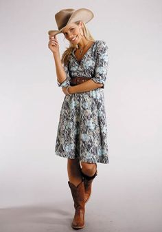 Women's Dresses and Skirts Blue 6900 Grassland Poppy V-neck Dress Stetson Ladies Collection- Fall I Group - 6900 Grassland Poppy V-neck Dress Stetson Ladies Collection- Fall I Group Long Sleeve Urban Western Wear Source by - Western Dress With Boots, Cowboy Boot Outfits, Dresses With Cowboy Boots, Western Dresses, Western Outfits, Cowgirl Boots, Gypsy Cowgirl, Cowgirl Style, Cowgirl Tuff