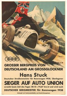 Germany - Hans Stuck - Sieger auf Auto Union - (artist: Klokien c. - Vintage Advertisement Giclee Gallery Print, Wall Decor Travel Poster), Size: 36 x 54 Giclee Print, Multi Auto Poster, Car Posters, Travel Posters, Vintage Racing, Vintage Ads, Vintage Posters, Vintage Travel, Grand Prix, Classic Cars