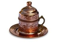 Decorated Turkish Coffee Cup with Saucer - copper