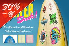 Save 30% on my customisable Surf Decals on @The Creative Team Market