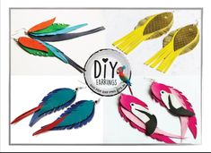 Diy Leather Feather Earrings, Diy Earrings, Leather Jewelry, Leather Craft, Parrot Feather, Cameo Jewelry, Colorful Feathers, Earring Set, Flamingo