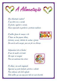 Poema a alimentação_margarida_cunha Healthy Eating Habits, Preschool Crafts, How To Plan, Education, Primary Teaching, Secondary School, Teacher Open Houses, Verses, Poems