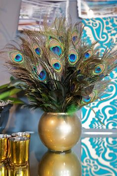 Pea Bathroom Decor Ideas Feathers In A Gold Vase Sitting On The Counter Adds Elegance To Great Diy Idea