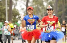 Monika Allen ran last year's LA Marathon dressed as Wonder Woman, along with her friend Tara Baize. Their costumes, complete with tutus, were a tribute to superheroes since Monika was running in the middle of her chemotherapy treatment for brain cancer. The pair made their own tutus as part of the Glam Runner project they founded in 2011 to raise funds for Girls on the Run San Diego.