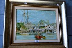 Oil on board - fishing boats, nicely framed