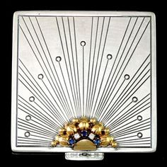 Art Deco Sterling Silver & 14k Gold Compact Mirror, Diamonds & Sapphires