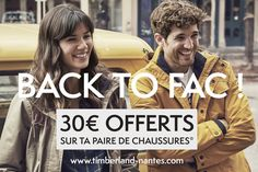 BACK TO FAC : offre spéciale étudiants à l'université de Nantes >> 30€ de réduc sur ta paire de chaussures sur présentation de carte étudiante jusqu'au 15 octobre chez Timberland Nantes à Atlantis !