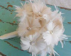 Pink Wedding Bouquet Feather Wedding Bouquet by BouquetByRosaLoren