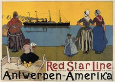 """Henri Cassiers """"Red Star Line Poster"""" 1899 
