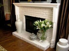 Image result for white brick fireplace mantel ideas