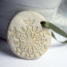 Large White Polymer Clay Christmas Ornament by arjunajewelry