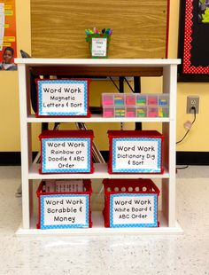 Daily 5 word work station- this setup could work for group or block supplies, too!