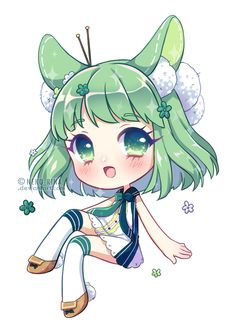 [+Video] Glossy Coco by Neko-Rina Kawaii Chibi, Cute Chibi, Anime Chibi, Kawaii Anime, Anime Art, Wolf Girl, Anime Green Hair, Chibi Food, Chibi Girl