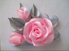 Цветок из ленты. - YouTube