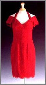 Diana, Princess of Wales wore this dress during an official visit to Buenos Aires in 1995. This red lace cocktail dress with cap sleeves and halter-neck was designed by Catherine Walker, and sold for $ 25,300 at the Christie's auction.